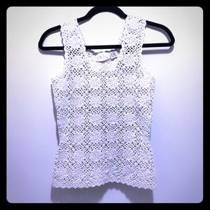 Cache Knit Sweater Tank White Silver Flowers Small